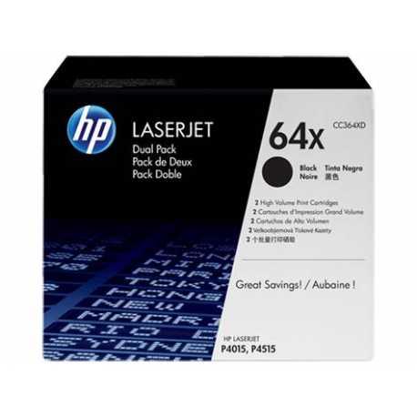 HP 64X 2'li Paket Yüksek Kapasiteli Siyah Orijinal LaserJet Toner Kartuşları CC364XD