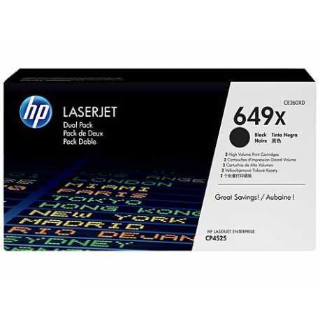 HP 649X 2'li Paket Yüksek Kapasiteli Siyah Orijinal LaserJet Toner Kartuşları CE260XD