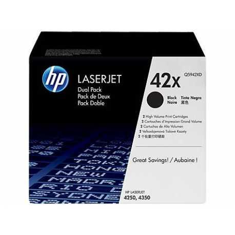 HP 42X 2'li Paket Yüksek Kapasiteli Siyah Orijinal LaserJet Toner Kartuşları Q5942XD